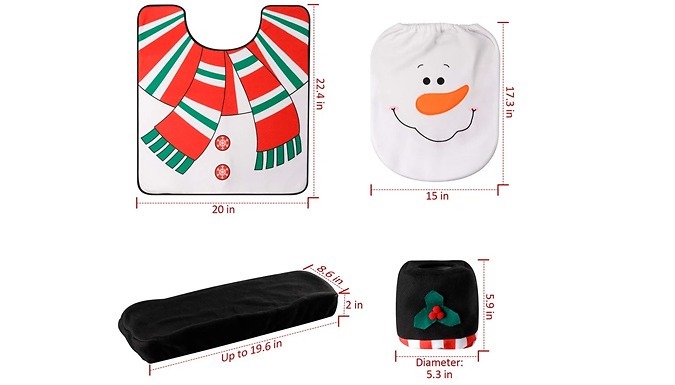 Matching Christmas Toilet Cover, Tank Cover & Mat - 1, 2 or 3