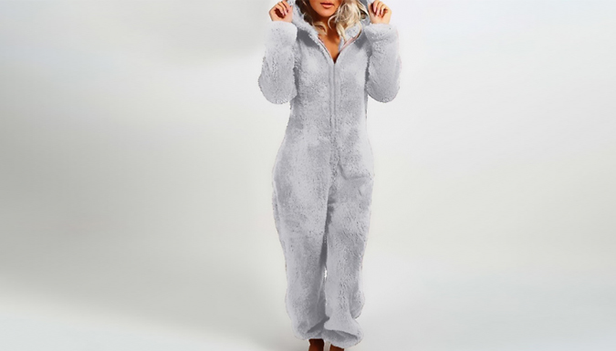 Women's Teddy Bear Furry Hooded Onesie - 5 Sizes & Colours