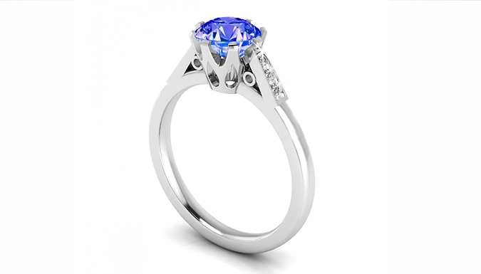 1.06ct Lab Created Tanzanite and Natural Diamond Ring