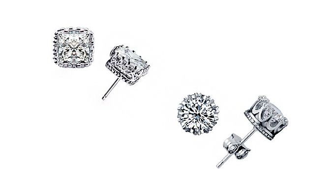 Two or Four Pairs of Duo Crystal Crown Earrings