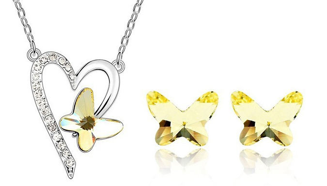Crystal Butterfly Jewellery Set