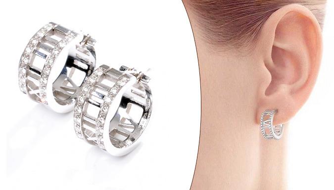 Crystal Roman Numeral Earrings
