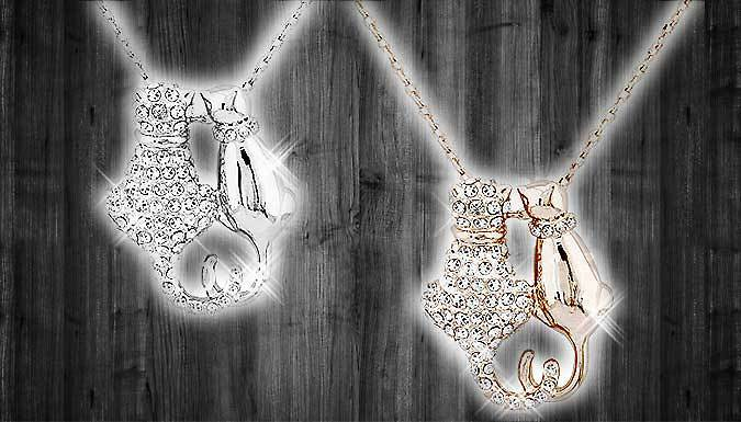 Cute Cats Crystal Necklace