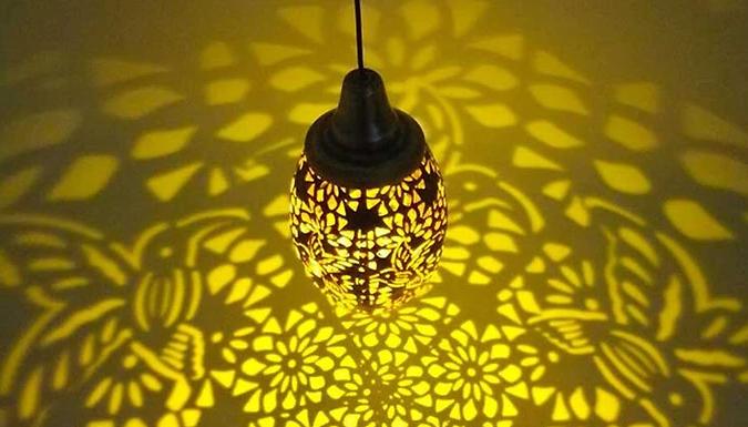 Outdoor Hanging Hollow Lantern Solar Lamp - 2 Designs