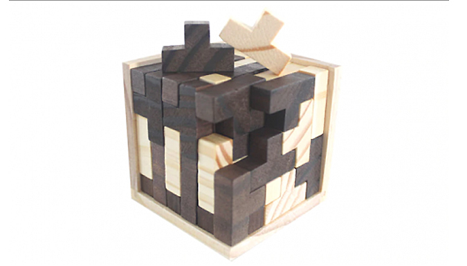 Brain Teaser IQ Game Tetris Cube with Wooden 3D Puzzles - 54-Piece from Good2items