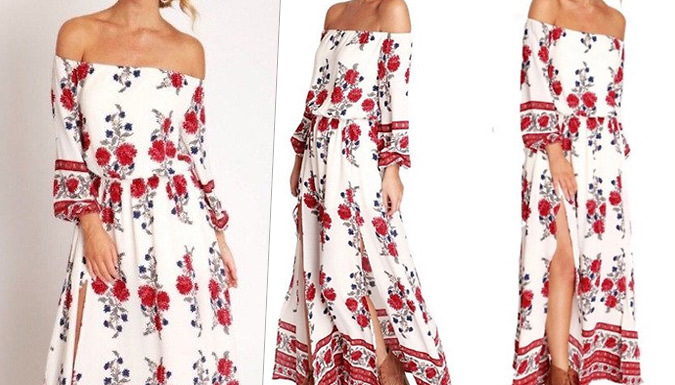 Get Floral Bardot Side Split Maxi Dress from