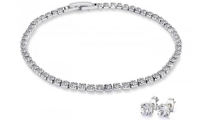 18K White GoldPlated Tennis Bracelet & Earring Set