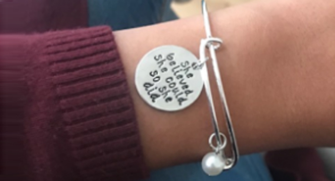 Compare retail prices of 'She Believed She Could So She Did' Bracelet to get the best deal online