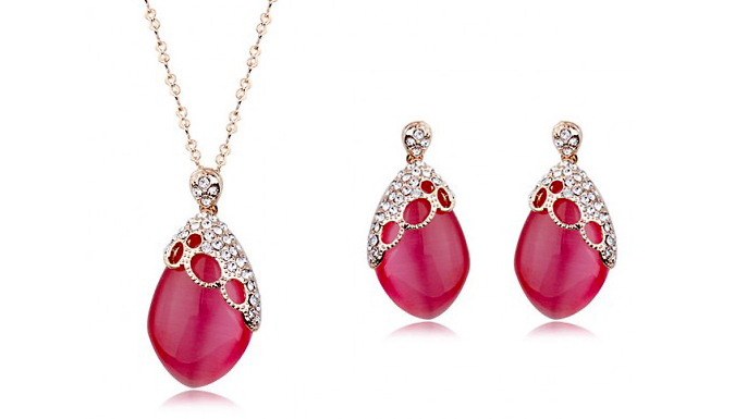 Gold Plated Red Opal Jewellery Set