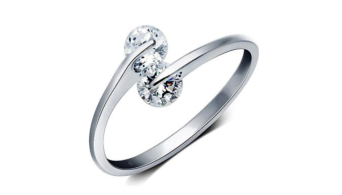 Twin Zircon Adjustable Ring