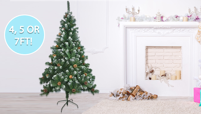 Artificial Christmas Tree With Snow & Cones - 3 Sizes