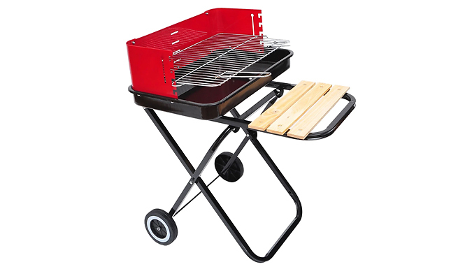 Outsunny Foldable Charcoal Barbecue Grill With Wheels