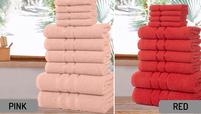 10-Piece Set of Premium Egyptian Cotton Towels - 12 Colours from GoGroopie