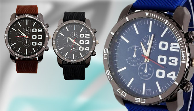 Men's Faux Leather Watch: 3 Colours