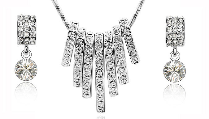 DDDeals - White Gold-Plated Embellished Hoop Necklace and Drop Earrings Set