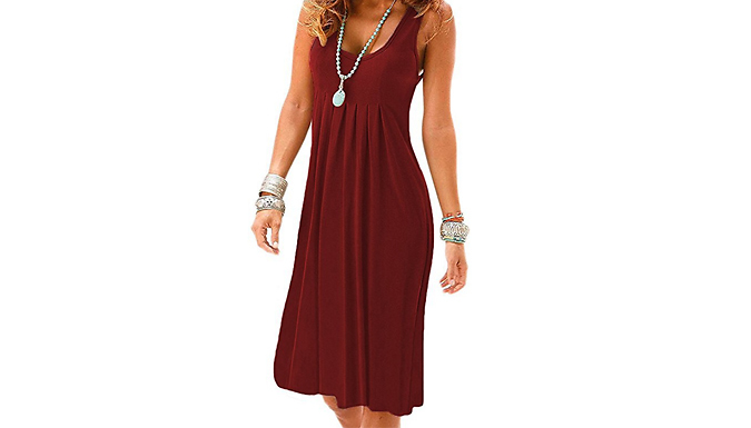 Summer Casual Pleated Vest Dress - 5 Colours & 3 Sizes