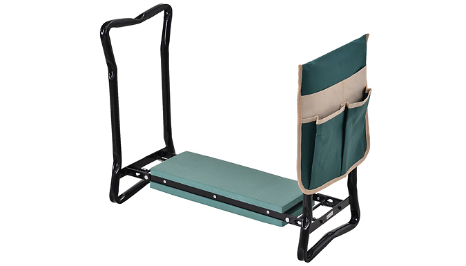 Outsunny Steel Gardening Kneeler Seat with Storage Pouch