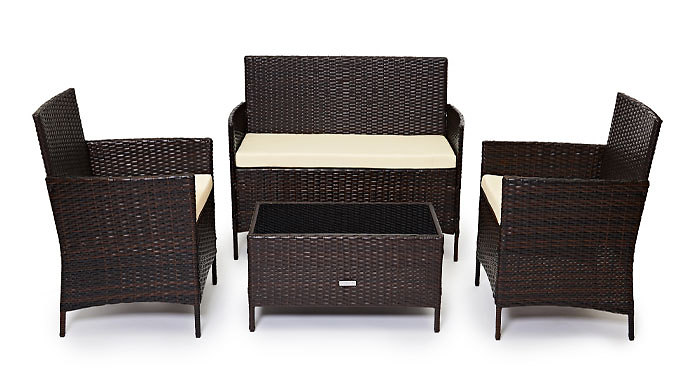 4-Piece Rattan Garden Furniture Set with XL Table – 3 Colours (£109)