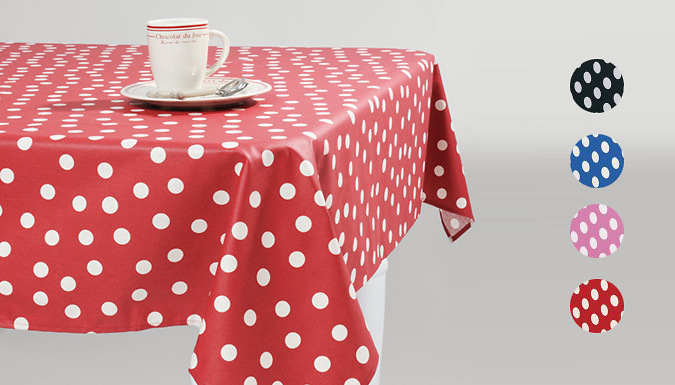 Polka Dot PVC Tablecloth; 4 Colours