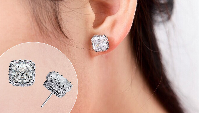 One or Two Pairs of White Gold-Coloured Square Crown Earrings