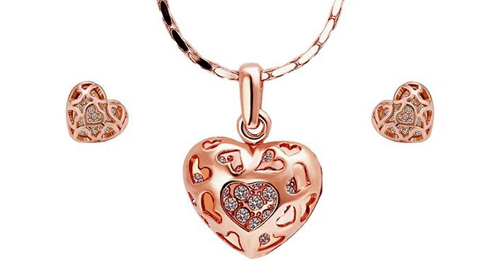 Rose Gold Plated Crystal Heart Necklace Set