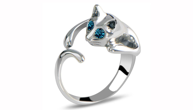 18K White Gold Plated Crystal Cat Ring
