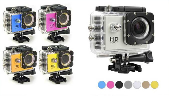 Waterproof HD Sports Camera - 720P or 1080P with Optional Accessories Set