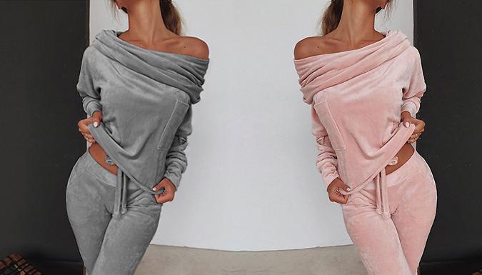 2-Piece Velour Off-the-Shoulder Loungewear Set - 4 Colours & 3 Sizes