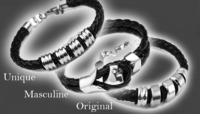 Men's Faux Leather Bracelet - Available in Three Designs