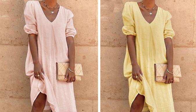 Casual Long-Sleeve V-Neck Dress - 6 Colours & 4 Sizes