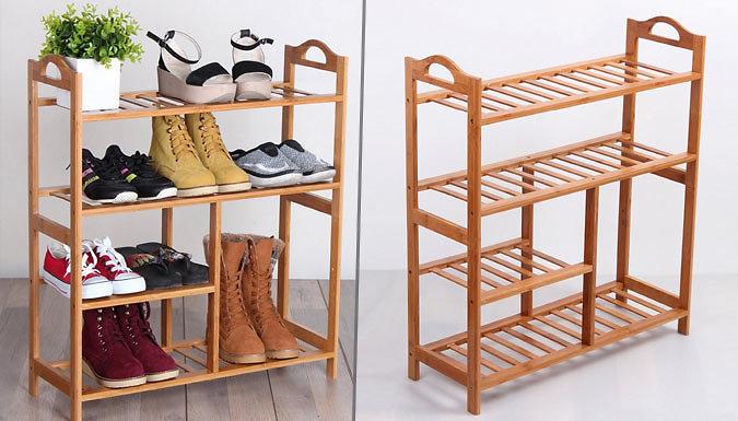4-Tier Natural Bamboo Wooden Shoe Rack