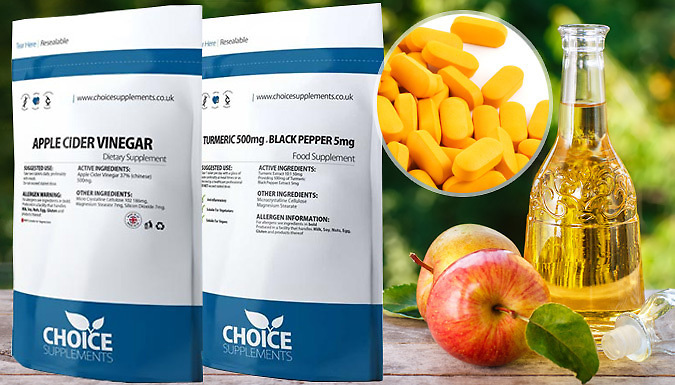 Apple Cider Vinegar Tablets & Optional Turmeric Tablets - 4 Month Supply!