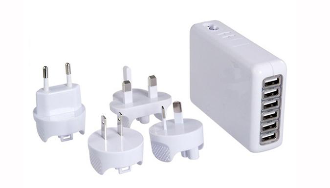 6 Port USB Charger - Worldwide & UK Plugs Included!