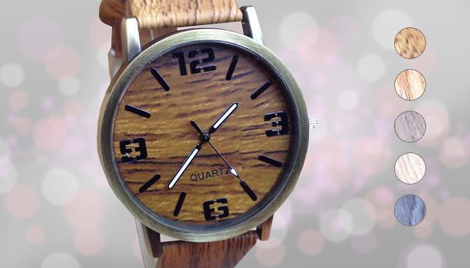 Wooden Styled Timepiece - 5 Colours