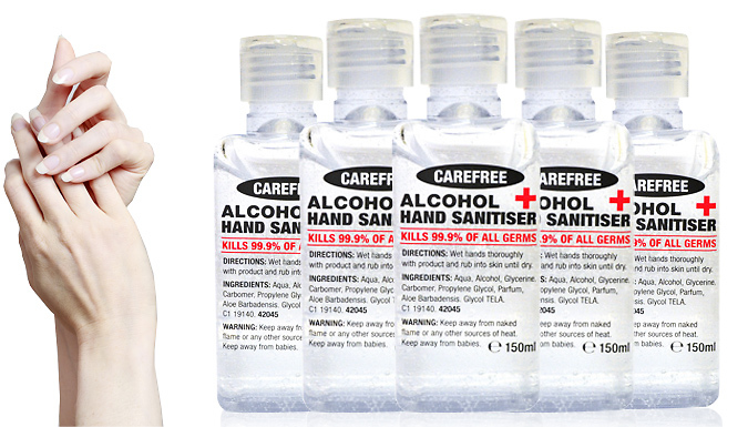 150ml Alcohol Hand Sanitiser Gel - 1, 3 or 5-Pack from Direct 2 public