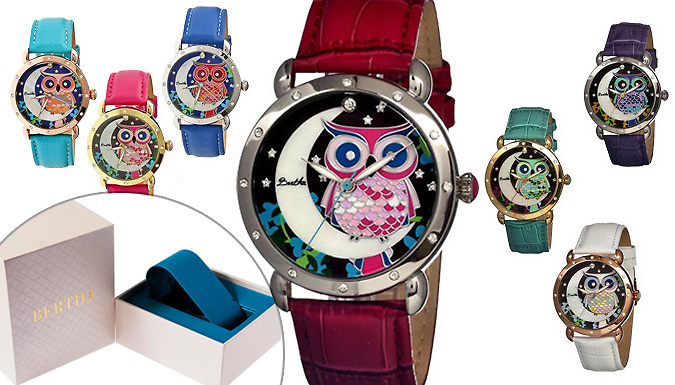 Bertha Ashley MotherofPearl OwlPrint Watch  7 Colours