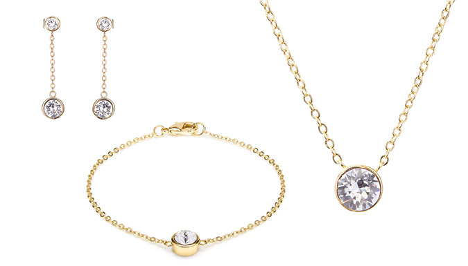 18K Yellow Gold-Plated Jewellery Set With Crystals From Swarovski