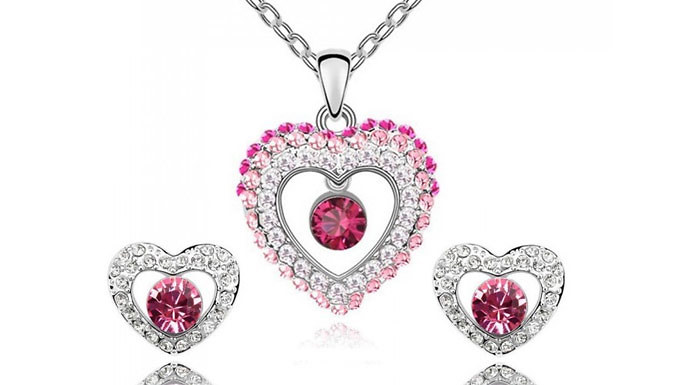 Swarovski Elements Pink Heart Set