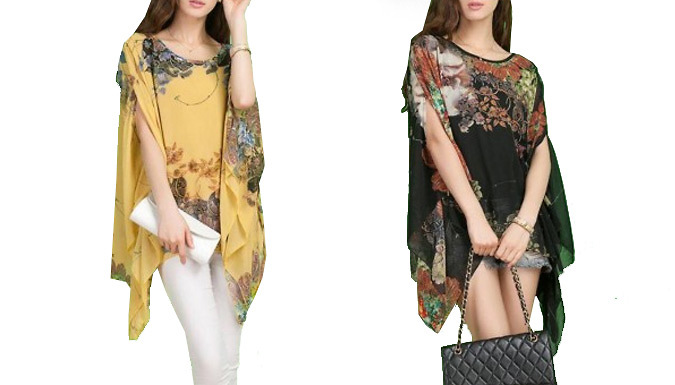 Get Printed Chiffon Blouse - 3 Colours from