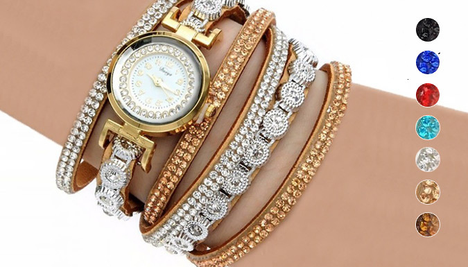 Seby Swarovski Elements Wrap Watches