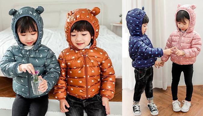 Kids' Bear Ears Hooded Warm Jacket - 4 Colours & 5 Sizes
