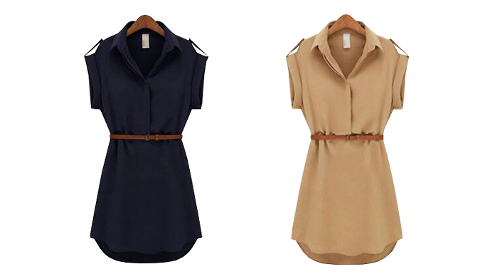 Belted Mini Shirt Dress  2 Colours 5 Sizes