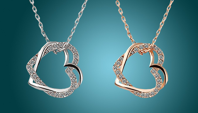 Rose Gold or Silver Crystal Heart Necklace
