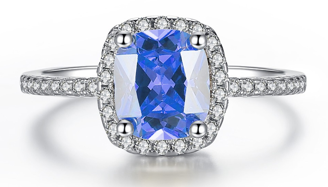 Compare prices for 1.67ct Rhodium-Plated Simulated Sapphire Ring - 3 Colours
