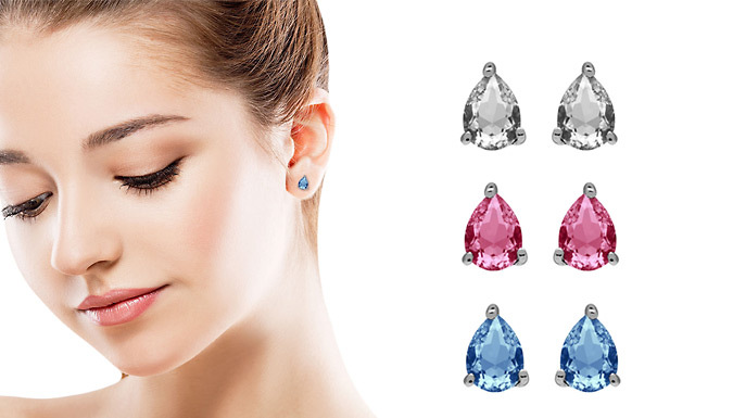 Set of Teardrop Earrings Made With Crystals From Swarovski®