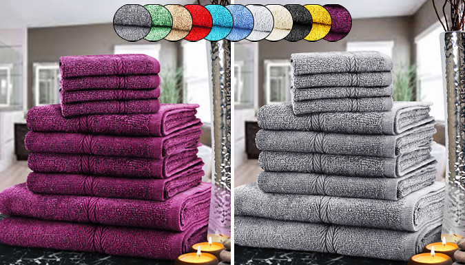 Save on 10 or 20-Piece Egyptian Cotton Towel Set - 12 Colours from Go Groopie