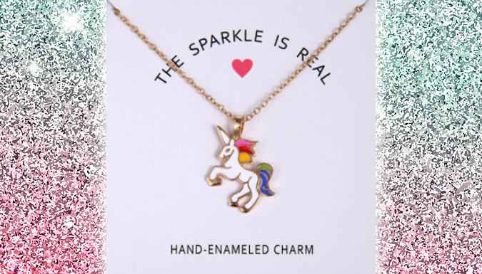 Compare retail prices of 'The Sparkle Is Real' Unicorn Necklace to get the best deal online