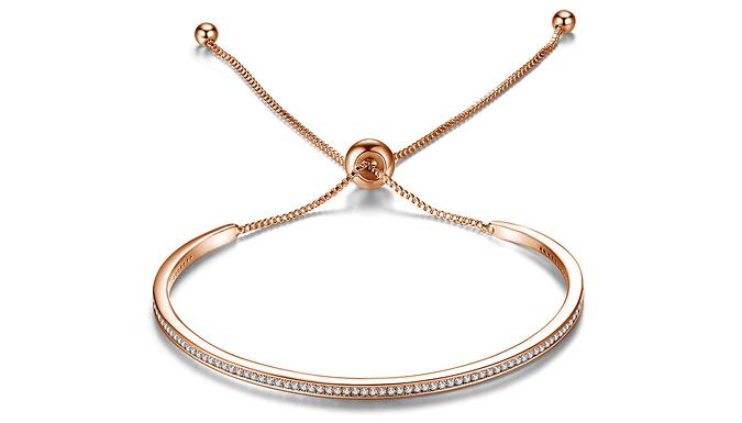 Adjustable Metal Friendship Bracelet with Swarovski Crystals- 3 Colours