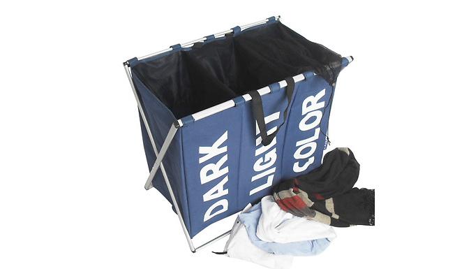 3-Compartment Folding Laundry Basket - 4 Colours