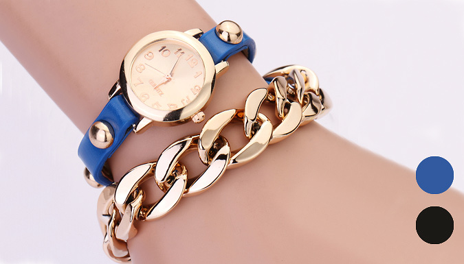 Golden Bracelet and Faux Leather Chain Watch